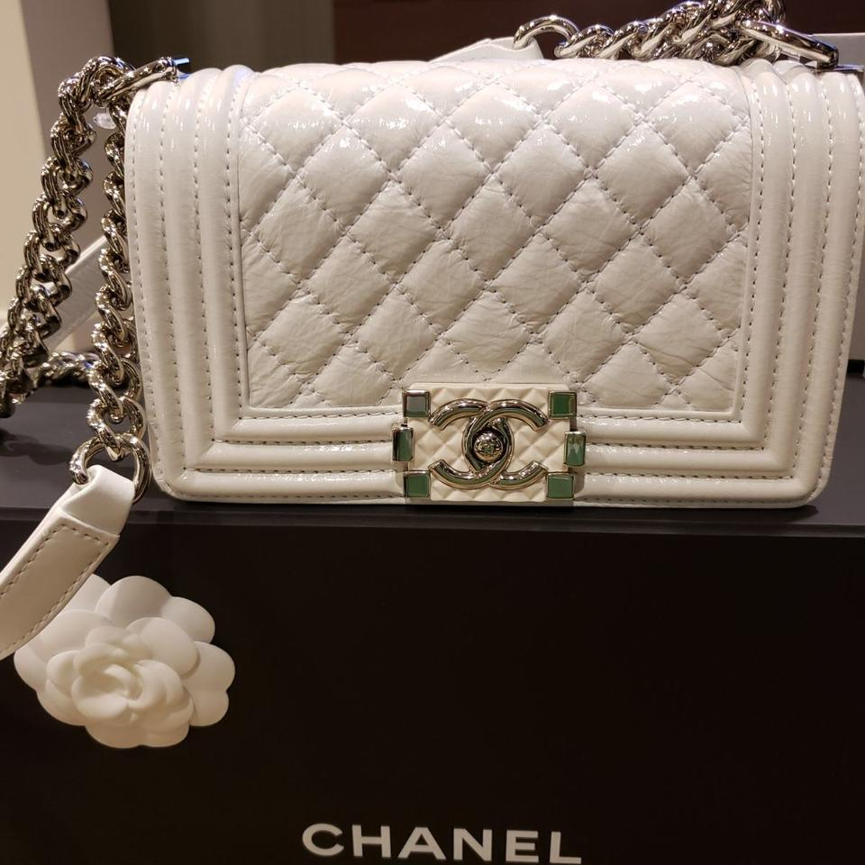Chanel Boy New Small White Patent Leather Cross Body Bag - Tradesy 8f753aa190d15