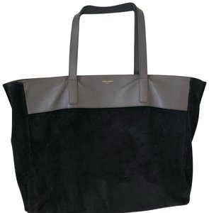 Saint Laurent Calfskin Leather Reversible Suede Tote in Gray and Black
