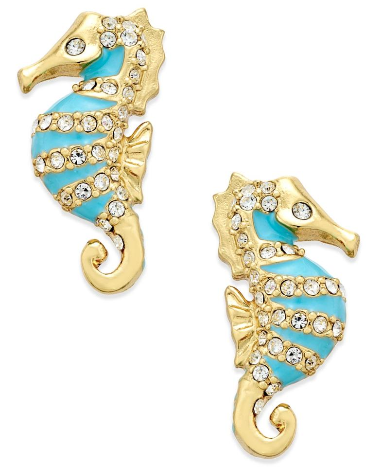 Kate Spade New Paradise Found Seahorse Stud Earrings 12k Gold