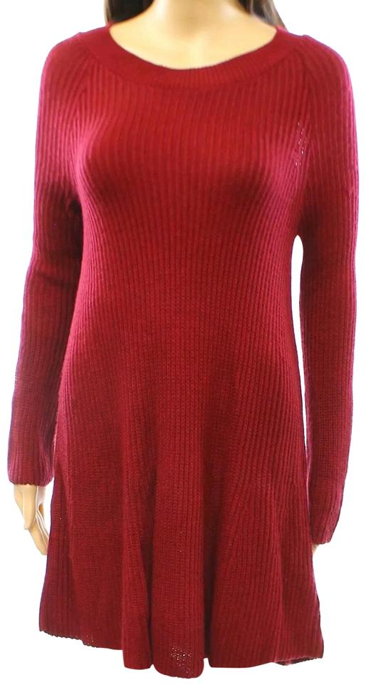 59c63befcf33 Cotton Emporium Red Dark Flared Sweater Long Sleeve Mini Short Casual Dress