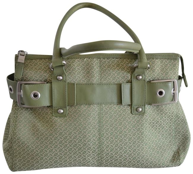 Item - Logo Mint Green Canvas & Leather Tote