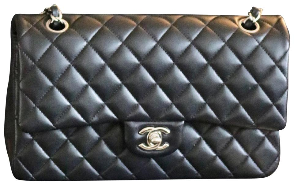 540f313d2707 Chanel Quilted Silver Tone Metal Black Lambskin Leather Shoulder Bag ...