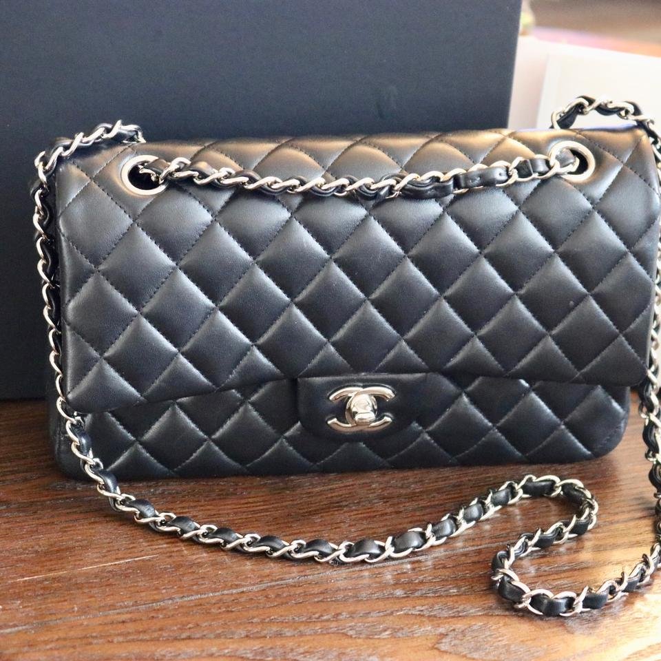 0ba0456dde65 Chanel Quilted Silver Tone Metal Black Lambskin Leather Shoulder Bag -  Tradesy