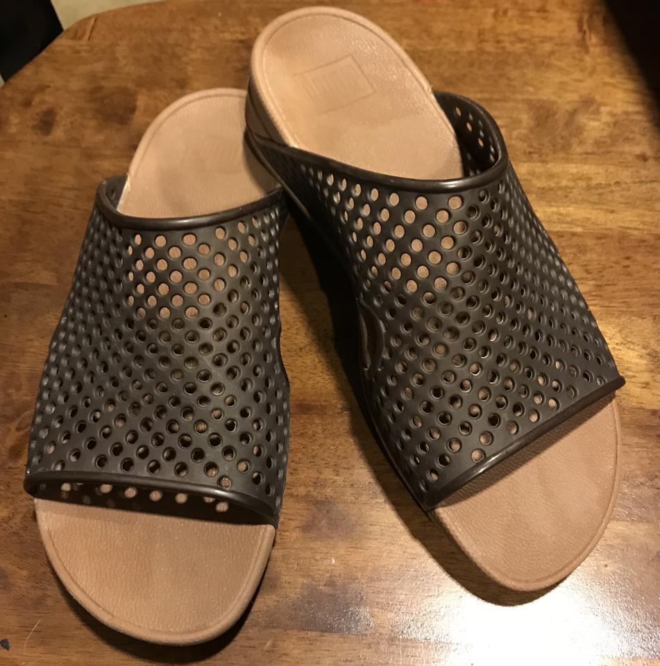 b95f6dcc59d0e0 FitFlop Brown Perforated Platforms Size US 8.5 Regular (M