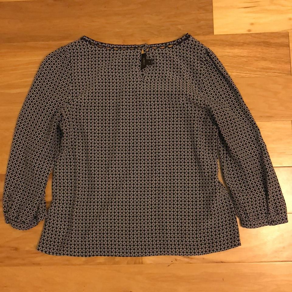 bf2c66e6812be6 J.Crew Navy Plum and Gray Classic Silk Blouse Size 8 (M) - Tradesy