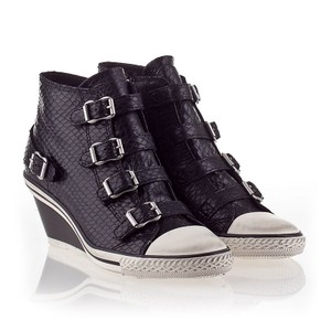Ash Sneaker Canvas Buckles Black/White Wedges