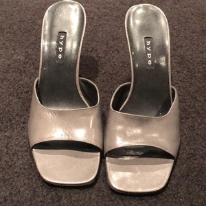 Hype Slides Mules Silver Grey Sandals