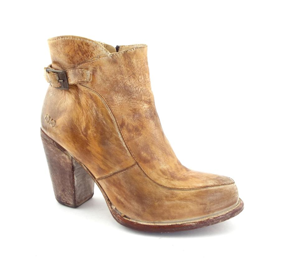 Bed|Stü Rustic Tan Bench Made Leather Block heel Ankle BootsBooties Size US 8 Regular (M, B)