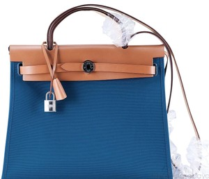 Hermès Satchel in Blue, Camel