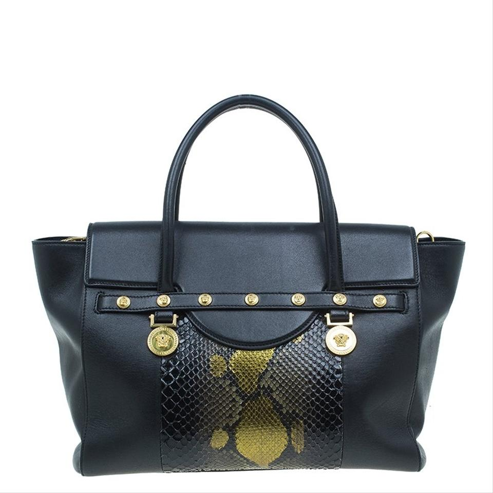 a1366ca1b53c Versace Python and Leather Large Signature Black Satin Exotic Skin ...