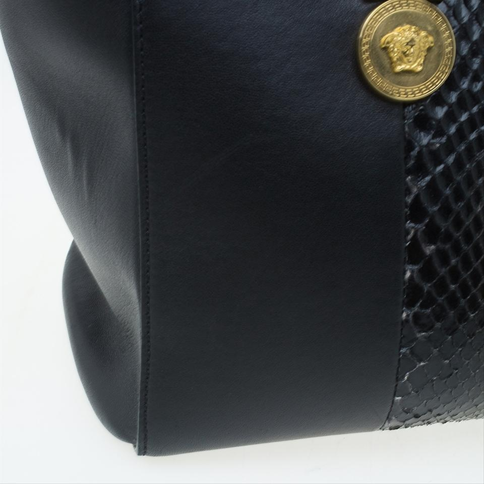 Versace Python and Leather Large Signature Black Satin Exotic Skin ... df506c55f2f7e