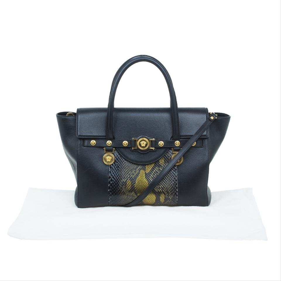 Versace Python and Leather Large Signature Black Satin Exotic Skin Tote -  Tradesy df92f623c6400