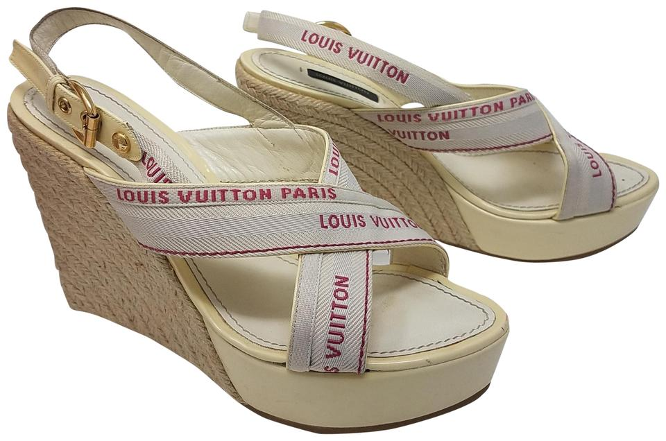 a7532794ccf Louis Vuitton Beige White Red Patent Leather Lv Print Slingback Platform Wedges  Sandals