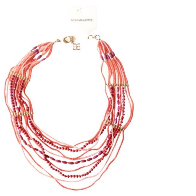 Item - Coral Rose Beaded Multi Strand Gold Tone Cluster Necklace