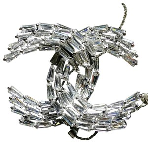Chanel Crystal Baguette CC Brooch Silver