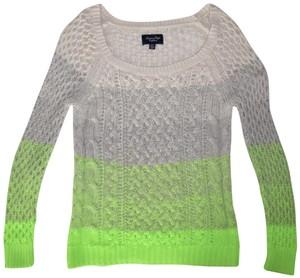 American Eagle Outfitters Ombre Loose Knit Striped Ivory Beige Lime Green  Sweater