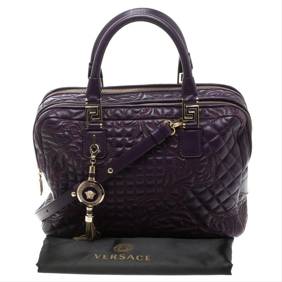 Versace Demetra Vanitas Top Handle Purple Leather Fabric Shoulder Bag Tradesy