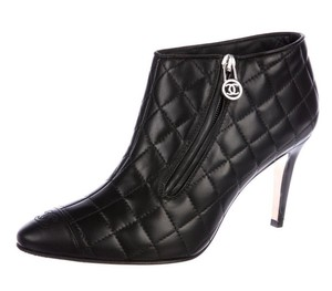 Chanel Cap Toe Quilted Logo Black Boots