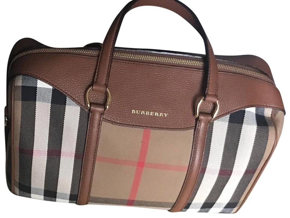 3c14fa901a5c Leather and House Check Canvas Medium  alchester  Convertible Bowling Brown  Satchel