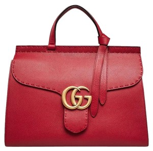 Gucci Marmont Gg Tote Nut Brown Monogram Satchel in red