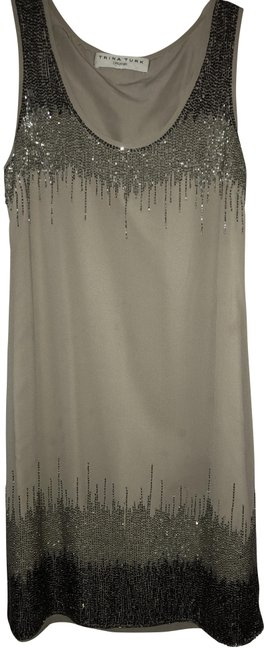Item - Taupe Beige Beaded Mid-length Cocktail Dress Size 2 (XS)