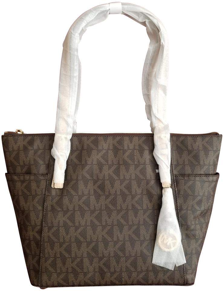 c2392a35d6f8 Michael Kors Mk Signature Jet Set Large Tote Brown Logo Pvc Shoulder ...