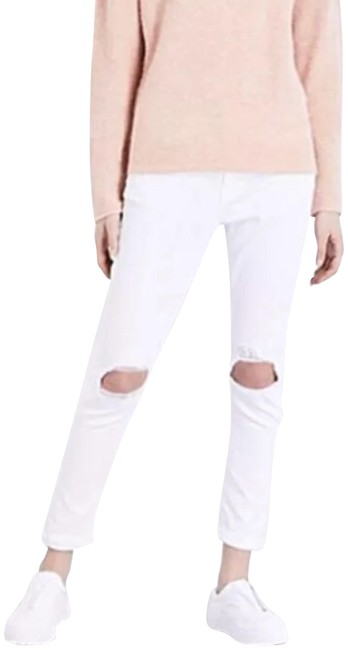 Item - White Distressed Le Garçon Boyfriend Cut Jeans Size 28 (4, S)
