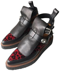 Coach Leather Platform Red and Black Leopard Boots
