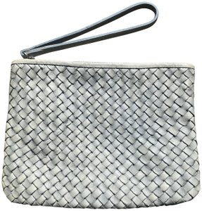 Massimo Leather Silver Hardware Woven Wristlet in Blue