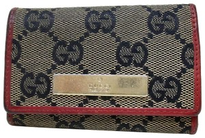 Gucci Gucci Monogram GG Signature Web Canvas Leather Key Case holder logo