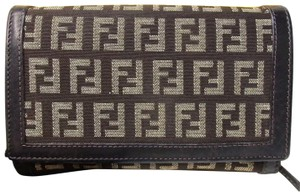 Fendi In box Zucchino zucca Fendi canvas leather wallet clutch monogram logo