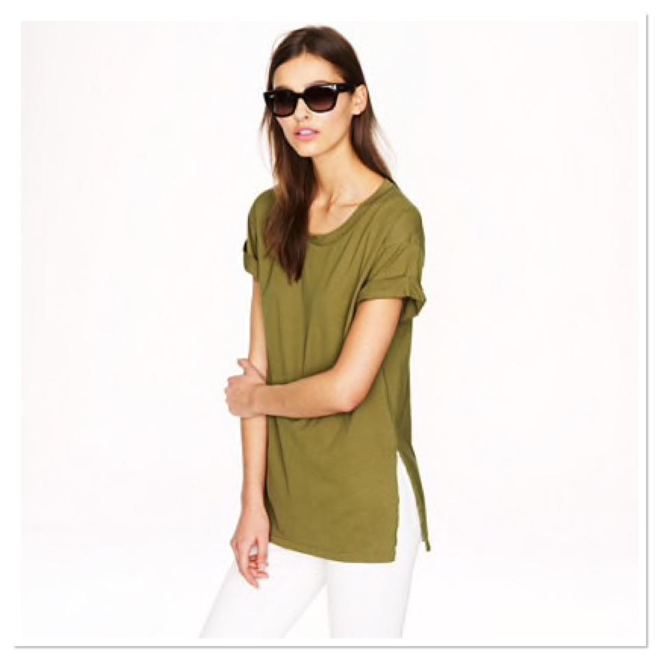 929e4bdcb21d87 J.Crew Catskill Green Side-slit Luxe Cotton Tunic Tee Shirt Size 6 ...
