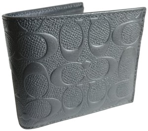 Coach Coach Men's Embossed Logo Leather Wallet - Black