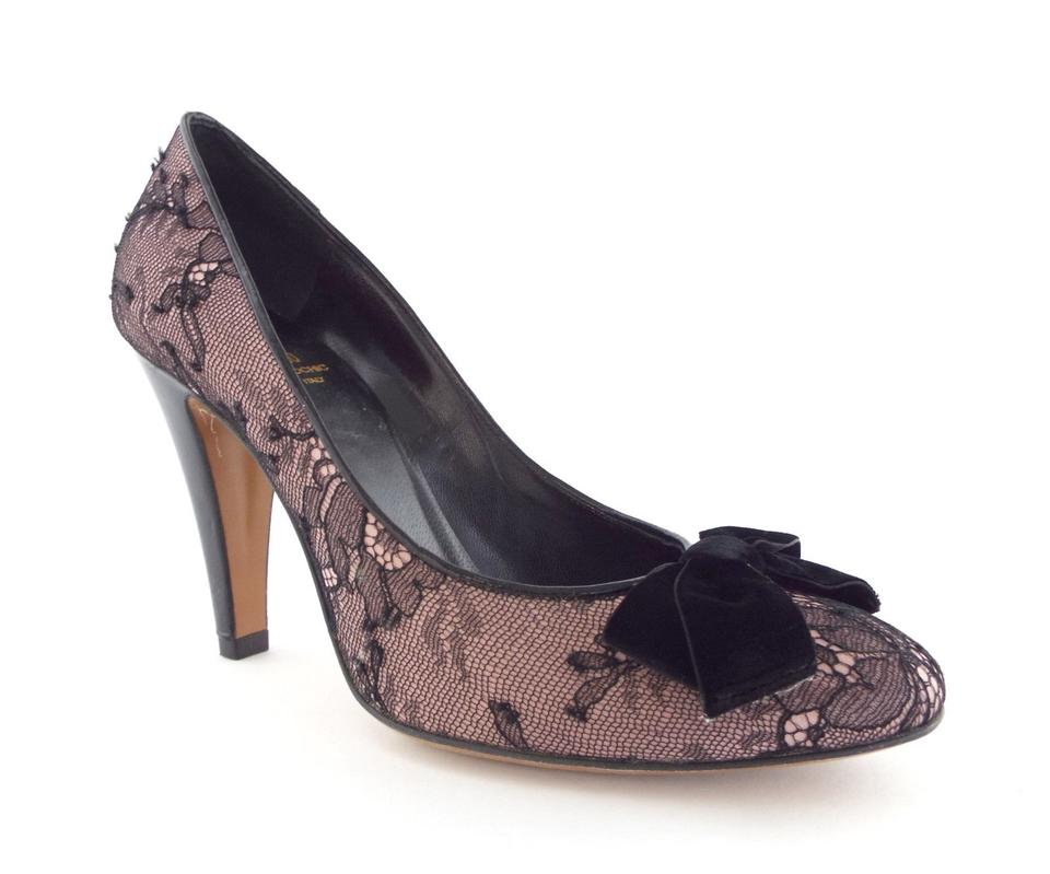 1078e59c32c Moschino Black   Lavender Bow and Lace Detail Leather Pumps. Size  EU 38.5  (Approx. US 8.5) Regular (M ...