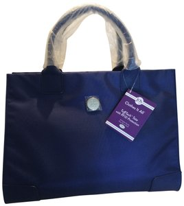Joy Mangano Leather Travel Tote in Navy
