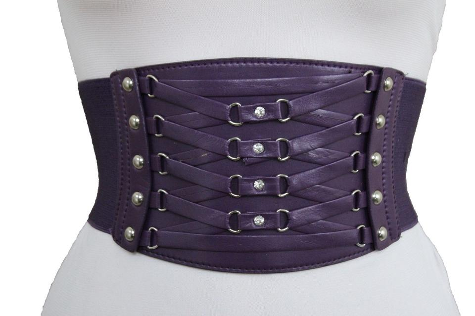 9dd6299a201 Alwaystyle4you Purple High Waist Wide Waistband Elastic Corset Chic New Women  Belt Image 11. 123456789101112