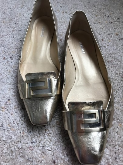 Versace Leather gold Flats