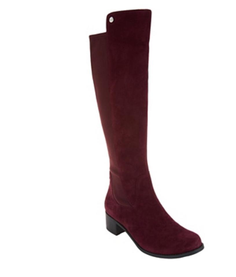 Marc Fisher Burgundy Incept Leather Medium Calf Tall Shaft Suede Leather Incept Boots/Booties cc247e