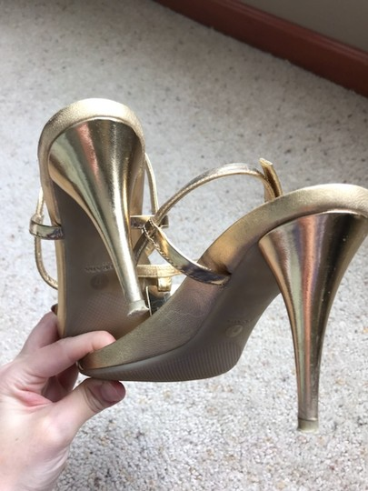 Prada Strappy Heel Leather gold Pumps Image 4