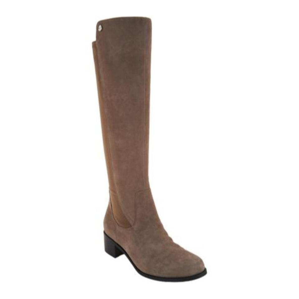 Marc Fisher Taupe Incept Calf Boots/Booties Tall Shaft Suede Leather Boots/Booties Calf 9a7377