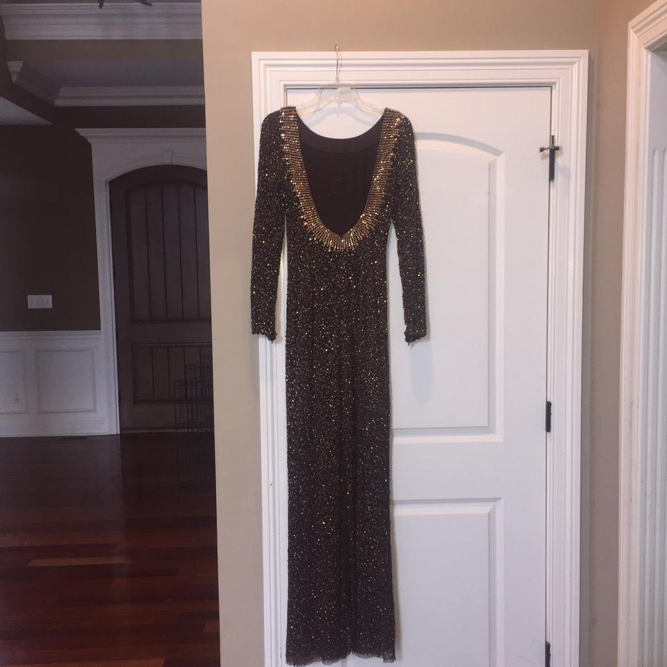 8c3ea2a91a31 Jenny Packham Brown and Gold Beaded Sequin Sleeve Long Formal Dress ...