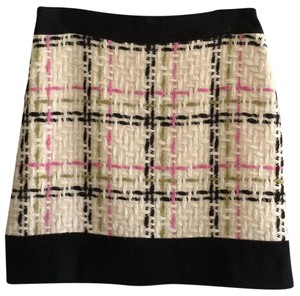 Milly of New York Skirt cream with black trim and black, pink and green interweave