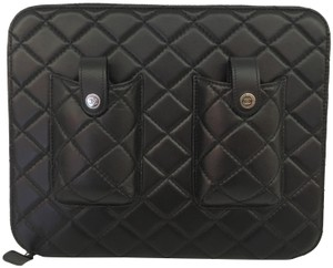 Chanel Chanel 12P Black Quilted Lambskin iPad Case