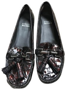 Stuart Weitzman Patent Leather Crocodile Loafer brown Flats