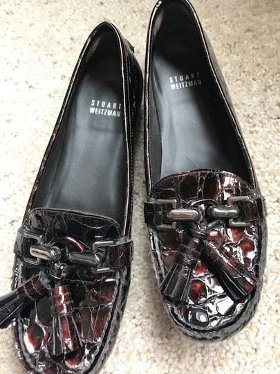 Stuart Weitzman Patent Leather Crocodile Loafer brown Flats Image 1