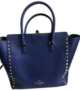 Valentino Rockstud Smooth Leather Leather Tote in Royal Blue