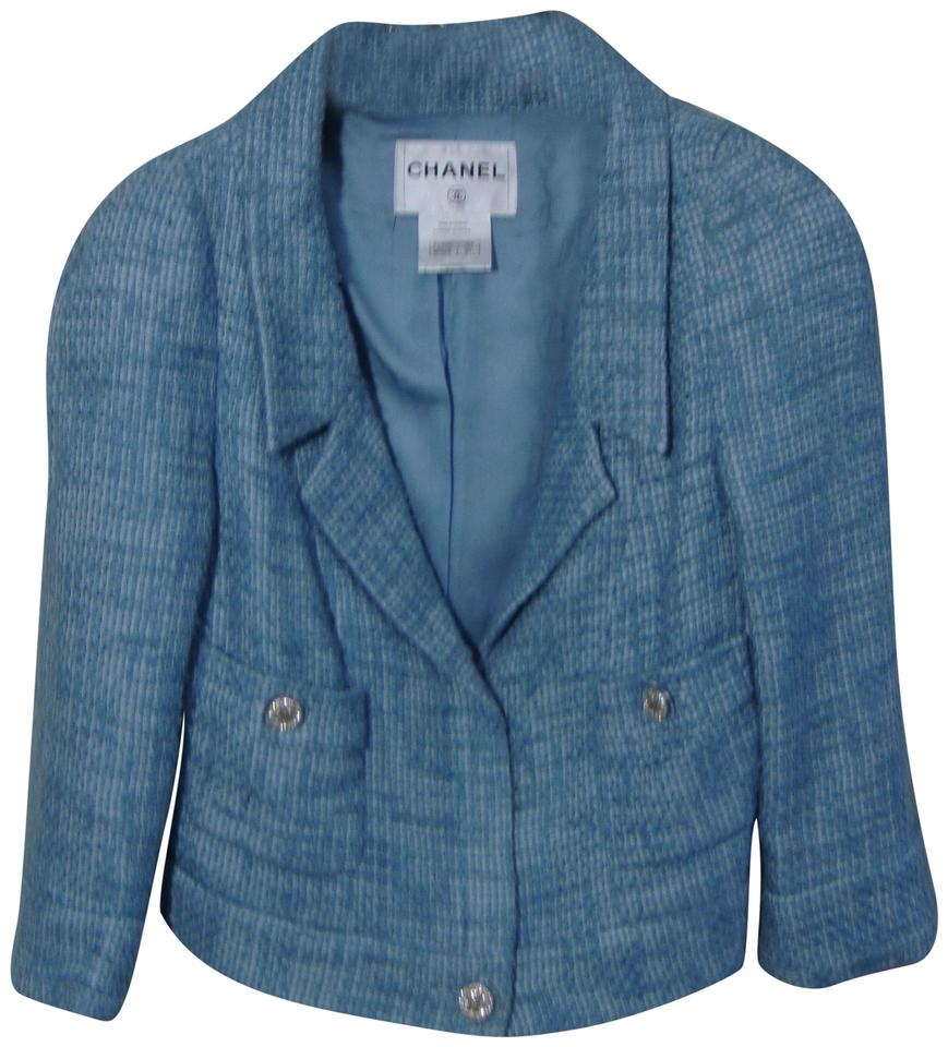 Chanel Light Blue Cotton Blend Tweed Spring Jacket Size 10 (M) - Tradesy