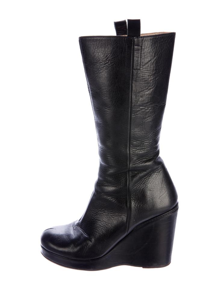 Damir Doma Black Leather High Wedge Boots Booties Size EU 38 (Approx ... 7702e52b8578