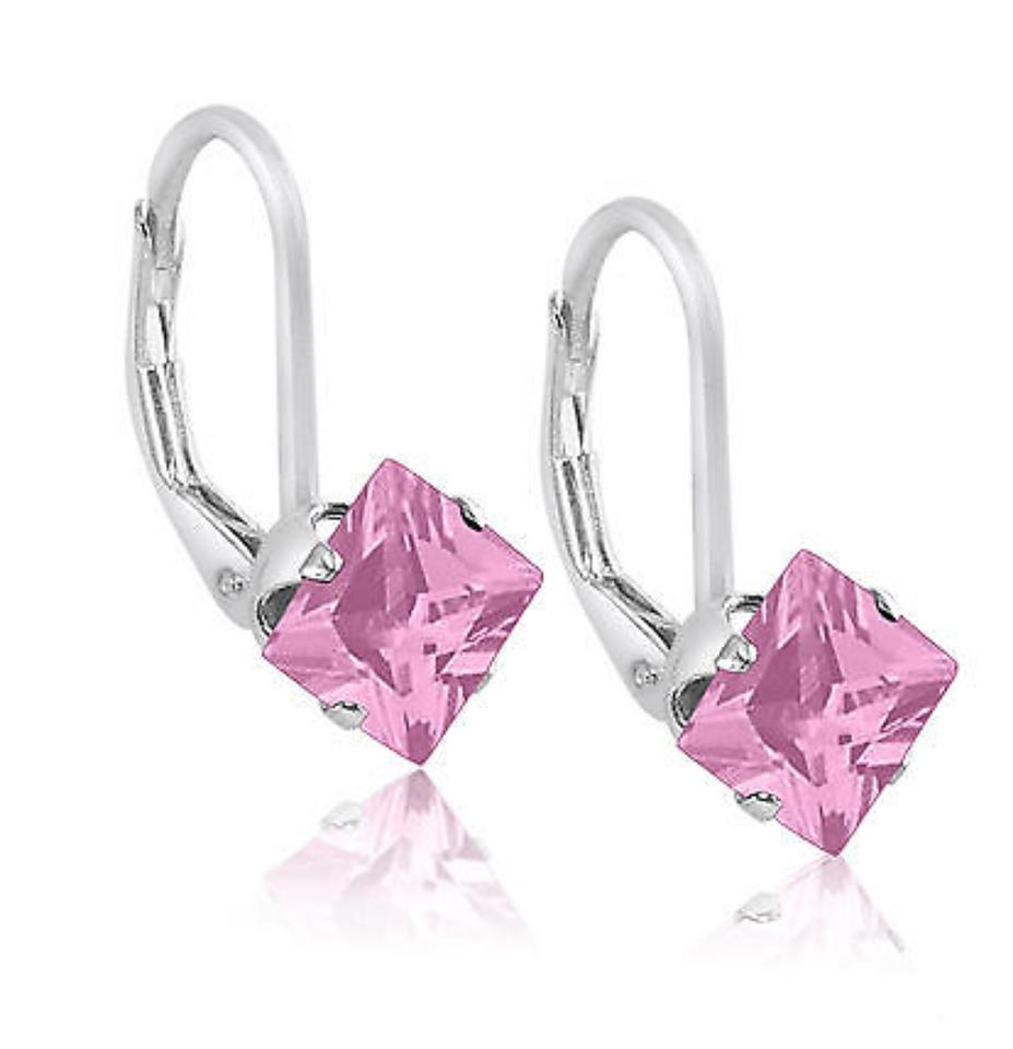 9 2 5 Gorgeous Pink Topaz Square Drop Earrings
