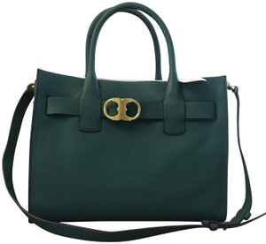 Tory Burch Leather Gold Hardware Luxury Chic Casual Tote in Malachite/Green